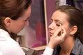 makeup artist applying makeup Royalty Free Stock Photo