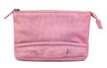 Makeup bag pink leather isolated on white Royalty Free Stock Photo