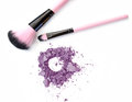 Makeup brush with blue powder isolated on white. Royalty Free Stock Photo