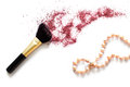 Makeup brush and blusher professional sample with necklace on white background Royalty Free Stock Image