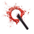 Makeup brush with color powder Royalty Free Stock Photo