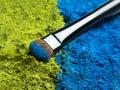 Makeup brush eye with eye shadow Stock Image