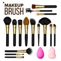Makeup Brush Set Vector. Cosmetic Beauty Tools. Professional Woman Facial Equipment. Female Accessory. Realistic Royalty Free Stock Photo