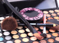 Makeup brushes and make up eye shadows cosmetics for face Stock Photography