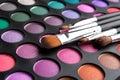 Makeup brushes makeup eye shadows Royalty Free Stock Photos