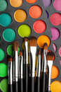 Makeup brushes makeup eye shadows Royalty Free Stock Photo
