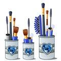 Blue makeup brushes, mascara, comb, cotton buds