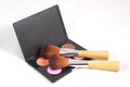 Makeup and brushes multi coloured three on white background Stock Images