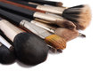 Makeup brushes on white background Royalty Free Stock Photos