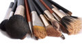 Makeup brushes on white background Stock Photos