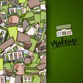 Makeup cartoon doodle backdrop design. Cute background concept for beauty greeting card,  flyer, brochure. Royalty Free Stock Photo