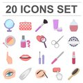 Makeup and cosmetics cartoon icons in set collection