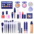 Makeup cosmetics colorful icons and design elements. Eyes, face, lips beauty and care products