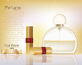 Makeup cosmetics and perfume ads template. Gold lipsticks mockup with sparkling background. Charming lips golden allure