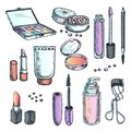 Makeup cosmetics sketch illustration. Female fashion design elements. Hand drawn beauty and care products