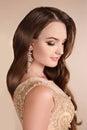 Makeup. Elegant lady portrait, sensual brunette woman with shiny