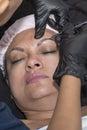 Makeup eyebrow tattooing closeup of on a beautiful woman Royalty Free Stock Image