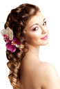 Makeup, hairstyle. Young beautiful woman with luxurious hair. Mo Royalty Free Stock Photo