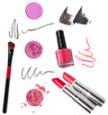 Makeup kit light tender pink eyeshadow red and terracotta lipstocks special professional brush for eye shadow applying red black Stock Photo