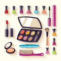 Makeup kit. Sets of cosmetics on isolated background. Vector illustration