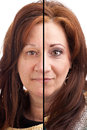 Makeup before and after on a middle aged italian german brunette woman Stock Images
