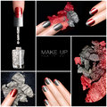 Makeup and nail art trend manicure set trendy five isolated macro pictures over black background concept Royalty Free Stock Photos