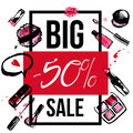 Makeup promotion banner with make up items. Cosmetic products in grunge style