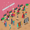 Makeup Room Fashion Industry Isometric Illustration