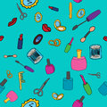 Makeup seamless pattern background various in vector Royalty Free Stock Photo