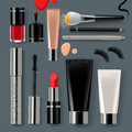 Makeup set collection with of make up cosmetics and accessories vector eps illustration Royalty Free Stock Image