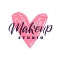Makeup Studio Vector Logo. Stroke Pink Heart Illustration. Brand Lettering illustration