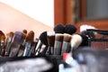 Makeup various colored brushes, closeup Royalty Free Stock Photo