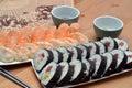 Maki and nigiri sushi sushi japan food on the table detail Royalty Free Stock Photo