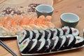 Maki sushi and nigiri sushi japan food on the table detail Royalty Free Stock Photo