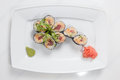 Maki sushi on plate isolated on white the Royalty Free Stock Photography