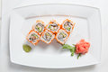 Maki sushi on plate isolated on white the Stock Photos
