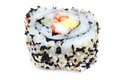 Maki sushi roll sesame border isolated white background Stock Photography