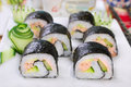 Maki sushi rolls with salmon and avocado japanese cucumber fresh Royalty Free Stock Photo