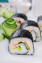 Maki sushi rolls with salmon and avocado japanese cucumber fresh Royalty Free Stock Photography