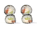 Maki sushi rolls with salmon and California cheese Stock Images