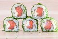 Maki sushi on wooden background roll a Stock Photo