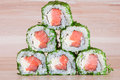 Maki sushi on wooden background roll a Royalty Free Stock Photography