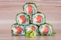 Maki sushi on wooden background roll a Royalty Free Stock Photos