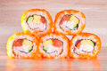 Maki sushi on wooden background roll a Stock Image