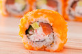Maki sushi on wooden background roll a Royalty Free Stock Images