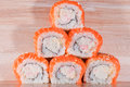 Maki sushi on wooden background roll a Stock Photography