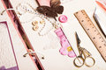 A making album scrapbooking with tolls and pink decorations Stock Images
