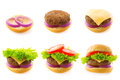 Making burger process of step by step isolated on white Royalty Free Stock Photography