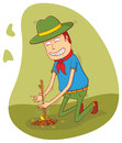 Making a campfire illustration of scout man available in vector eps file Stock Photo