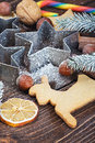 Making christmas cookies bakeware and nuts Royalty Free Stock Images